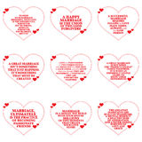Set of quotes about love and marriage over white background. Stock Image