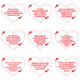 Set of quotes about love over white background. Royalty Free Stock Images