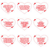 Set of quotes about love over white background. Stock Images