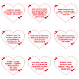 Set of quotes about missing love over white background. Stock Images