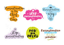 Set of quotes about procrastination. Hand drawn design. Royalty Free Stock Photo