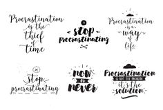 Set of quotes about procrastination. Hand drawn design. Royalty Free Stock Photos