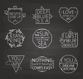 Set of Quotes Typographical Posters, line Design. Chalkboard Background Royalty Free Stock Photos