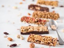 Set różni granola bary obrazy royalty free
