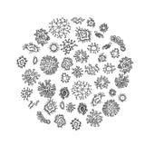 Set różni mikroorganizmy odizolowywający na białym tle Kolekcja zakaźni zarazki, protists, drobnoustroje plik ilustracji