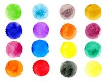 Set ręka malująca akwarela textured wokoło tło odizolowywających na bielu Kolekcja multicolor szczotkarscy uderzenia ilustracji