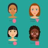 Set różna kobiety twarz pisać na maszynie wektorowego ilustracyjnego charakterów kształtów dziewczyny makeup ilustracja wektor