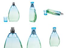 set różna Przejrzysta pachnidło butelka odizolowywająca na białym tle obraz royalty free