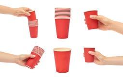 set różne Żeńskie ręki trzyma kartonową lub plastikową rozporządzalną filiżankę pojedynczy białe tło Obraz Stock