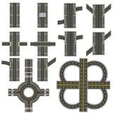 Set różne drogowe sekcje z kółkowym dvizheniemi odosobnieniem Przemiany, zwroty i różnorodni skrzyżowania, Obraz Stock