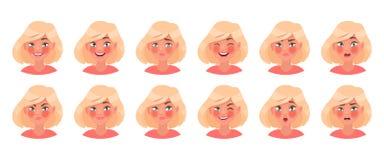Set różne emocje żeński charakter Piękny dziewczyny emoji z różnorodność wyrazami twarzy royalty ilustracja