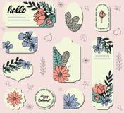 Set różne etykietki z ślicznym doodle kwitnie ilustracji