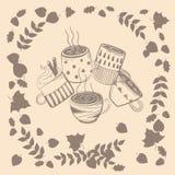 Set różne filiżanki w jesień liściach Ilustracji