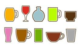 Set różne filiżanki z różnymi napojami - wektor ilustracja wektor