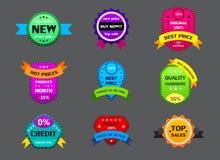 Set różne kolor etykietki na szarym tle royalty ilustracja