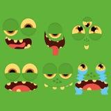 Set Różne kreskówek twarze Odizolowywać royalty ilustracja