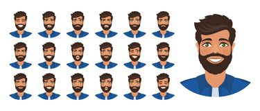 Set różne męskie twarzowe emocje ilustracja wektor