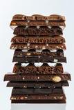 Set różne rozmaitość czekolada z dokrętkami, rodzynki Zdjęcia Stock