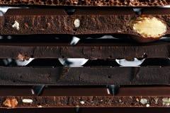 Set różne rozmaitość czekolada z dokrętkami, rodzynki Obraz Stock