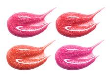Set różne warg glos pastelowego koloru rozmazu próbki odizolowywać na bielu Zdjęcia Royalty Free