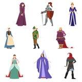 Set różni średniowieczni ludzie w kolorowych ubraniach lub kostiumu ilustracja wektor