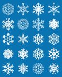 Set różni biali płatki śniegu zdjęcia royalty free
