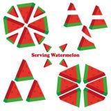 Set różni kawałki arbuz Przykład porcja arbuz ilustracji