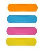 set różni kolorów tynki, bandaż odizolowywający na białej tło ścinku ścieżce lub Obrazy Royalty Free