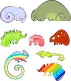 Set różni kreskówka kameleony przebierający jako różni przedmioty Zdjęcie Stock