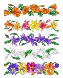 Set różni kwiaty w witrażu stylu na białym tle, kwiaty bez błonia ja jest ewentualny ruszać się Fotografia Stock