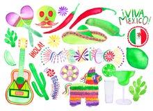 Set różni Meksykańscy symbole element patroszona ręka ilustracja wektor