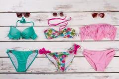 Set różni pływaccy kostiumy Zdjęcia Stock