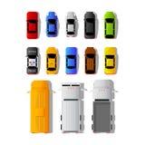 Set różni samochody i ciężarówki w odgórnym widoku ilustracji