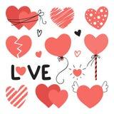 Set różni serca z literowaniem dla walentynka dnia, poślubia projekt Miłość elementy dla twój projekta ilustracja wektor