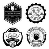 Set różni sporty i sprawność fizyczna loga czarny i biały szablony Fotografia Royalty Free