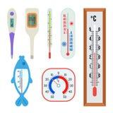 Set różni termometry - salowi, plenerowy, medyczny, dla wody Wielka kolekcja ikony dla sieci mieszkanie royalty ilustracja