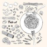 Set różni typ makarony Wręcza patroszonego inkasowego spaghetti, makaron, fusilli, farfalle, pierożek, tortiglioni, penne ilustracji