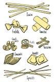 Set różni typy makaron w barwionym rysunku wykłada ilustracji
