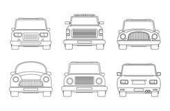 Set różni typy miastowy samochód frontowa i tylna widoku wektoru ilustracja Ścisły samochód, usługa holownicza podnosi w górę, SU ilustracji