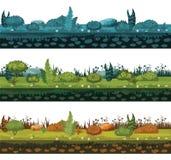 Set różni typy ziemia i ziemia z różnymi typami roślinność, trawa, ulistnienie dla rozwoju ui royalty ilustracja