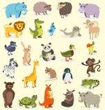 Set różni zwierzęta ptaki, ssaki, gady rysuje tła trawy kwiecistego wektora ilustracji