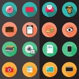 Set różnorodne płaskie ikony Zdjęcia Stock