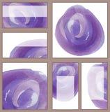 Set różnorodne wizytówki, cutaways szablony i gradient, - akwareli purpur jaskrawy okrąg z szczotkarską teksturą, minimalistic Obraz Stock