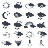 Set różnorodnego zmroku popielaci pogodowi symbole, elementy prognoza - ikona słońce, chmura, deszcz, księżyc, śnieg, wiatr, trąb ilustracji