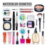 Set różnorodnej akwareli dekoracyjny kosmetyk Makeup produkty zdjęcie stock