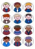 Set różnorodni dzieciaków avatars, prosty płaski kreskówka styl śliczny i Zdjęcie Royalty Free