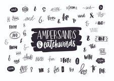 Set różnorodni ręcznie pisany ampersands, koniunkcje, prepozycje i artykuły, Kolekcja elegancki ręki literowanie royalty ilustracja