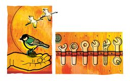 Set różnorodni spanners i wyrwania Titmouse siedzi na palmie mężczyzna Żurawie latają przez słonecznego dyska przeciw niebu royalty ilustracja