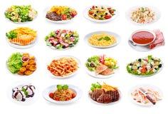 Set różnorodni talerze jedzenie zdjęcia royalty free