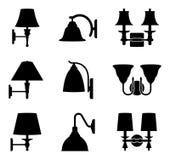 Set różnorodni typ ściennej lampy wektoru ikony obrazy stock